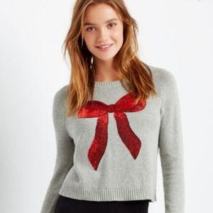 Bethany Mota Gray Sweater w/ Red Sequin Bow Sz S